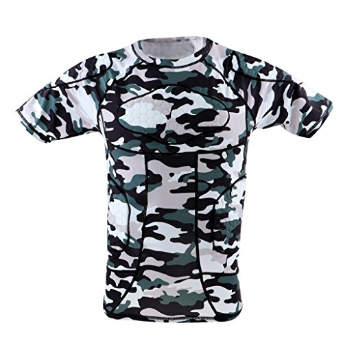 menolana Men's Boys Football Sports Padded Compression Shirt Top/Shorts - Shirt Size L