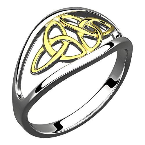 GWG Jewellery Anillos Mujer Regalo Anillo Plata de Ley Triqueta Céltica Doble Chapada en Oro 18K - 9 para Mujeres