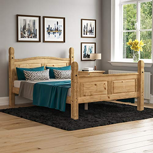Amazon Brand - Movian Corona Double Bed, 4 ft 6, High Foot End Bed Frame, Solid Pine Wood