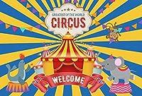 Qinunipoto ビニール 1.5m x 1m 漫画サーカステーマパーティーバナー用品カーニバルブルー写真撮影背景子供誕生日パーティー写真の背景赤ちゃん男の子ケーキテーブルの装飾の背景スタジオの小道具