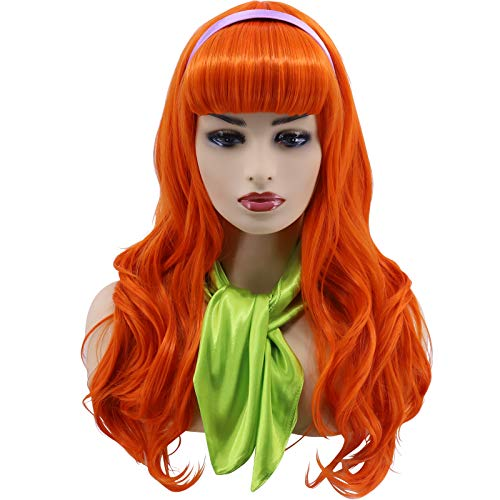 Hulaidywig Orange Wig Long Wavy Halloween Cosplay Costume Party Wigs for Women with Headband+Green Scarf