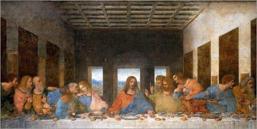 Posterlounge Leinwandbild 40 x 20 cm: Das Abendmahl von Leonardo da Vinci - fertiges Wandbild, Bild...