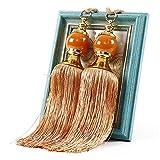 QLING 1 par de borlas de cuentas para cortina, sostén de cuerda, cuerda decorativa hecha a mano, cuerda para casa, dormitorio, oficina, hotel (naranja)