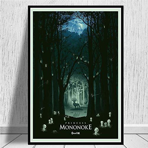 MXLF Peinture Toile Studio Ghibli Princesse Mononoke Film Japon Anime Poster Prints Peinture à...