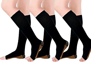 Copper Compression Socks, Open-Toe 20-30mmHg Graduated...
