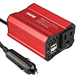 Saooer 150W Car Power Inverter 12V DC to 110V AC Converter with 2.1A+1A Dual USB Car Auto Charger Red car Adapter Car Converter for Plug Outlet Modified Sine Wave Inverter Cigarette Lighter