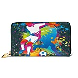 Women's Long Leather Card Holder Purse Zipper Buckle Elegant Clutch Wallet, Artistic Composition Two Soccer Players Competing Ball Color Splashes Stains Design,Sleek and Slim Travel Purse