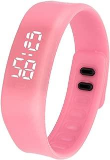 DamarkLED Sports Running Watch Date Rubber Bracelet Digital Wrist Watchch (Pink)