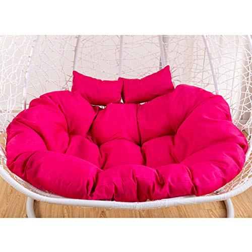 YUMUO Double Swing Hanging Basket Seat Cushion,Thicken Hanging Chair Pad With Pillow,Super Soft Comfort Tatami Chair Cushion Rose Red 130x95cm(51x37inch)