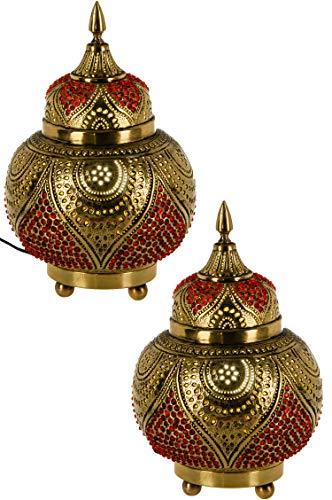 2er Set Orientalische Messing Tischlampe Lampe Abidah 28cm in Gold | Marokkanische Tischlampen klein Lampenschirm goldfarben | kleine Nachttischlampe modern für Vintage Retro & Landhaus Stil Design