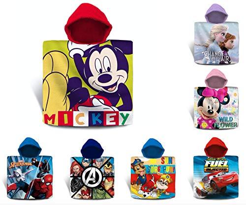 TIENDA EURASIA® Toalla de Playa Infantil de Poncho - 100% Algodón - Diseños Disney - 60 x 120 cm (Mickey)