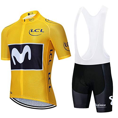 Conjunto Ropa de Ciclismo Hombres, Verano Traje Ciclismo Maillot de Manga Corta y Culotte Pantalones Cortos Bicicleta con 5D Gel Acolchado (S, M-Yello)