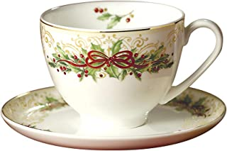 Hankook Chinaware Fine Bone China Coffee Cups with Saucers, Christmas Edition, Specialty Coffee, Latte, Cafe Mocha and Tea - Set of 2