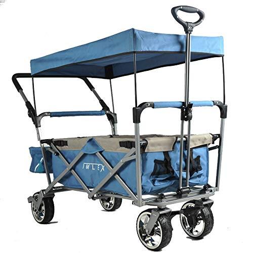 Bollerwagen IMLEX mit Schiebe und Zieh Funktion klappbarer Handwagen Strandwagen mit Sonnendach IM-4265