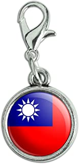 Antiqued Bracelet Pendant Zipper Pull Charm with Lobster Clasp Country National Flag O-S