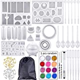 83 Pieces Silicone Casting Resin Jewelry Molds and Tools Set with A Black Storage Bag for DIY Jewelry Resin Craft Making