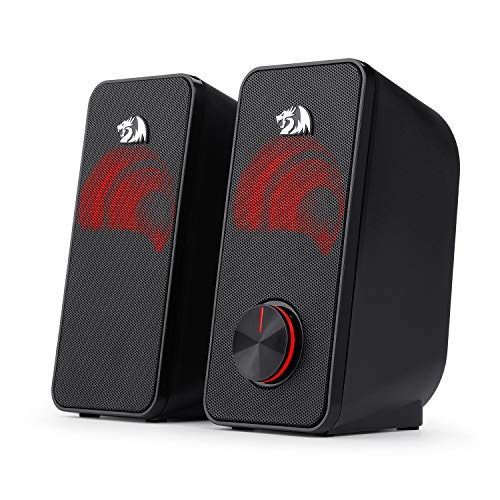 Redragon GS500 Stentor PC Gaming Speaker, 2.0 Channel Stereo Desktop Computer Speaker with Red Backlight, Quality Bass and Crystal Clear Sound, USB Powered with a 3.5mm Connector