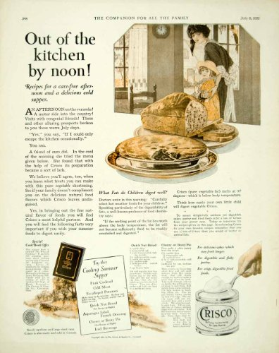 1922 Ad Procter Gamble Crisco Shortening Baking Food Kitchen Cooking Pie Bread - Original Print Ad