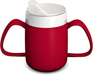 Ornamin Two Handled Mug with Internal Cone 140 ml Red with Spouted Lid with Small Opening (Model 815 + 806) | Drinking aid