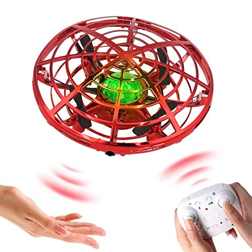 KELEQI Drone for Kids Flying Ball Drone Toys for Boys and Girls, Two Modes with Hand Control or Remote Control, UFO Drones for Kids with LED Light and 360° Rotating,Red