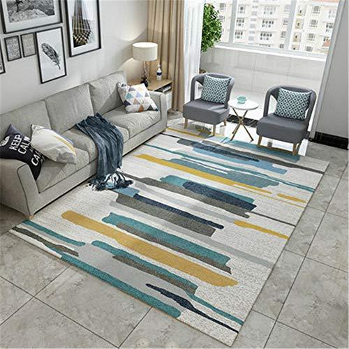 Alfombra Entrada Casa Interior Alfombras Lavables Dormitorio Azul amarillo ceniza raya diseño moderno alfombra brillante moda decoración fácil de manejar la alfombra serial del té del dormitorio Alfom