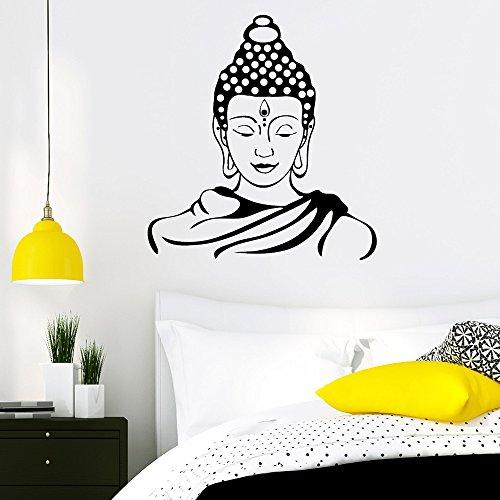 """Wandtattoo-Loft Wandaufkleber """"Buddha Gesicht"""" - Wandtattoo Sticker Aufkleber Wohnraumdekoration/49 Farben/4 Größen/grau/55 x 58 cm"""