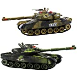 Haktoys Remote Control Fighting Tanks Set, 1:14 Scale, Life Indicators, Realistic Sounds and Lights, Set of 2 RC Radio Control Gaming Military Battle War Tanks, Great Gift Toy for Kids and Adults