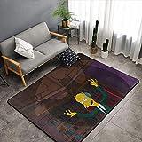 Simpson Alfombra de salón suave y sedosa alfombra Simpson Bat Cool antideslizante, 5 x 8 pies para fiesta