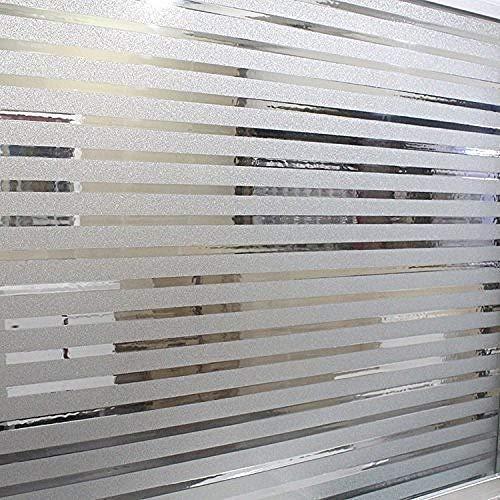 KUNHAN Raamfolie Raamsticker Strepen Bevroren Raamfolie Statische Cling Privacy Decoratieve Sticker Thuis Kantoor Vergaderkamers Glazen Deuren, 17,5 Door 78,7 Inch