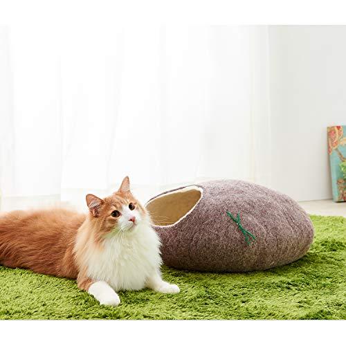 【OFT】kivikisLサンドブラウンキビキスキャットハウスメリノウール羊毛ベッド北欧デザインハンドメイドOFTオリジナル説明書付き