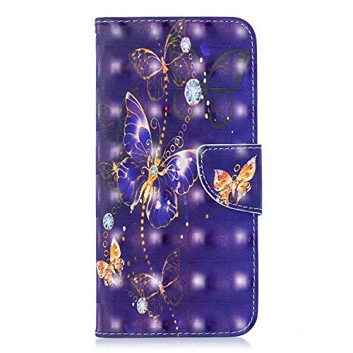 Hoesje voor Samsung Galaxy A51 Wallet Book Case, Magneet Flip Wallet Slim Beschermende Telefoonhoes met Kaarthouders slots Robuuste schokbestendige Bookcase voor Samsung Galaxy A51 ketting vlinder