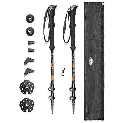 Cascade Mountain Tech Trekking Poles - Aluminum Hiking Walking Sticks with Adjustable Locks Expandable to 54' (Set of 2) , Orange
