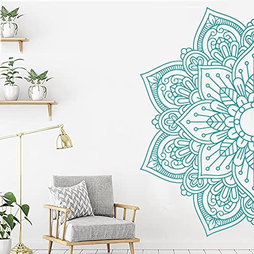 Diseño Boho Mandala Patrón de flor de medio loto Buda Meditación Estudio de yoga Vinilo Etiqueta de la pared Calcomanía artística Dormitorio Cabecera Sala de estar Decoración para el hogar Mural