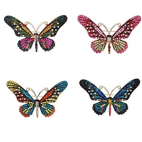 Ulalaza 4 Stücke Nette Schmetterling Brosche Pins Shiny Strass Insekt Corsagen Schal Clips Schmuck Zubehör für Party Prom
