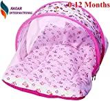 Nagar International Baby Bassinet & Cradle Bedding Set with Mosquito Net in Cotton Fabbric… (ABCD Pink, 0-12 Months)