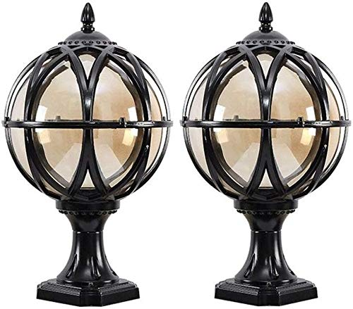 Zhangl 2 pcs LED Traditional Victorian Globe Column Light Lantern Classic Aluminium Die-Casting Glass Outdoor Waterproof E27 Pillar Post Lamps Creative Ball Courtyard Patio Porch Gate Landscape Street
