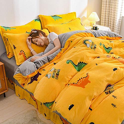 Funda Nordica Cama 150/135 Microfibra-Invierno engrosamiento versión AB terciopelo de leche de cuatro piezas de franela sábana cálida de doble cara funda de edredón kit de cama-L_Cama de 1,8 m (4 pie