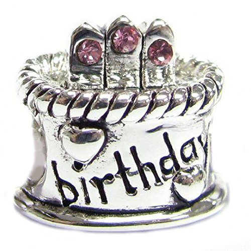 925 Queenberry de plata de ley con circonitas rosa tarta de cumpleaños colgante para Pandora Troll Chamilia Baigi para pulsera pulseras de seguridad europeo Story