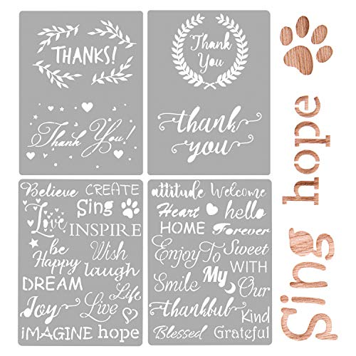 AIEX 4Pcs Plastic Stencils Journal Stencils Template for Drawing Painting on Wood Furniture Paper Window Wall, Including 2Pcs Thank You Stencils and 2Pcs Inspirational Word Stencils 20x15cm/8x6inch