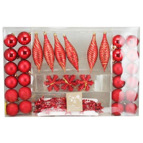 49 pièces de décoration de Noël Rouge