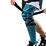 Dr. Moe's Solutions Knee Braces for Knee Pain – Full Leg Compression Sleeve – With Side Stabilizers – Basketball Running Working Out – Improve Circulation – Arthritis ACL MCL Meniscus Shin Splints - Designed by A Physical Therapist. (Blue, X-Large)
