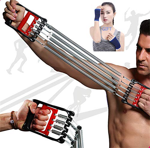 DOCYKE Chest Expander Men 5 Spring Exerciser Women Resistance Bands Home Gym Workout Training Equipment Rope Back Arms Machines Bars Shoulder Muscle Fitness Strength Outdoors Gloves Gift (Red)