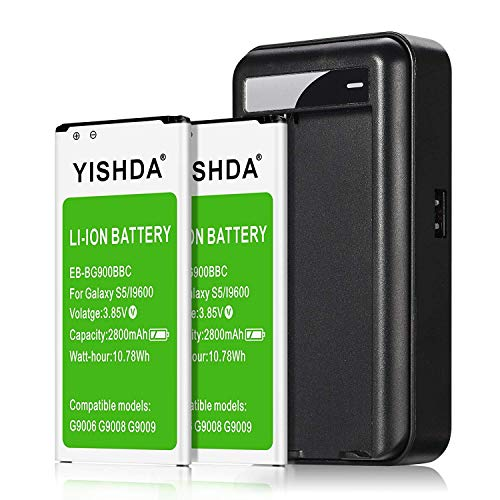Galaxy S5 Battery, YISHDA 2x2800mAh Replacement Batteries Compatible with Samsung Galaxy S5 with S5 Battery Charger Compatible Galaxy S5 Active I9600 G900F G900V G900T | Samsung S5 Spare Battery