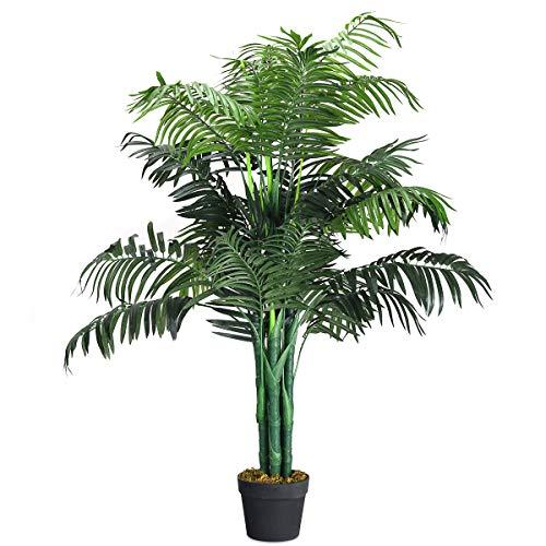 COSTWAY Palmera Artificial Altura 110cm Planta Árbol Artificial para Oficina Hogar Decoración Interior