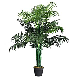 Silk Flower Arrangements Goplus Artificial Palm Tree, Fake Tropical Plant with Plastic Pot, Real Touch Technology, for Home Office Living Room Decor (3.5 feet)