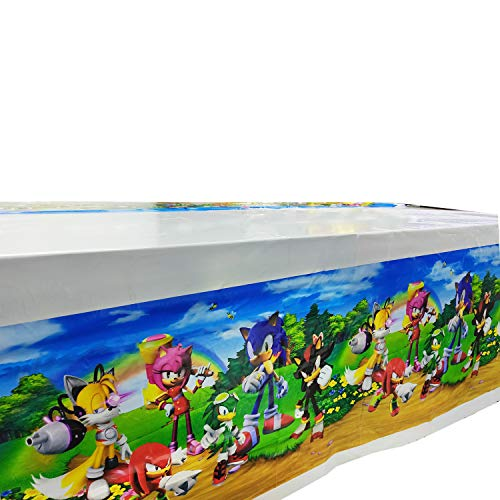 Sonic The Hedgehog Party Tablecloth, Table Cover Party Supplies Decorations - Baby Shower Birthday Party Sonic The Hedgehog Tablecloth 70' x 42'