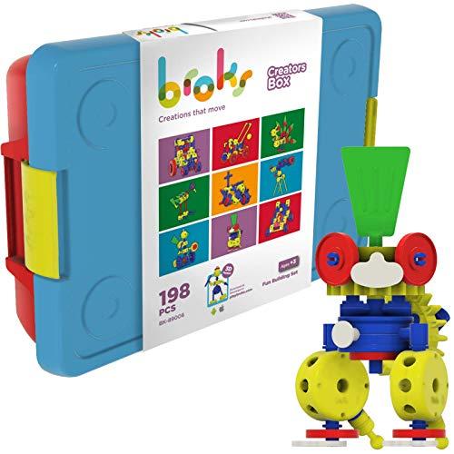 Broks Creators Box - Juego de construcción con 198 Piezas - Engranajes niños y niñas 3 4 5 6 7 8 9 10+ años - Nuevo con App