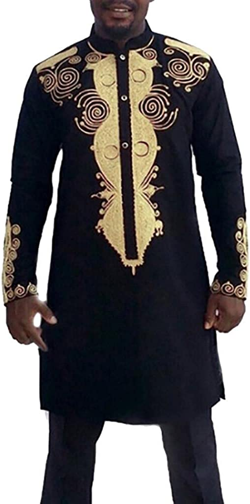 Men's African Dashiki 2 Piece Sets Long Sleeve Luxury Gold Printed Button Down Pullover & Pants Traditional Tribal Top