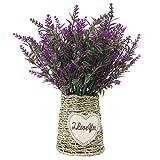 JAROWN - Maceta vintage de flores de lavanda artificiales con cuerda trenzada para...