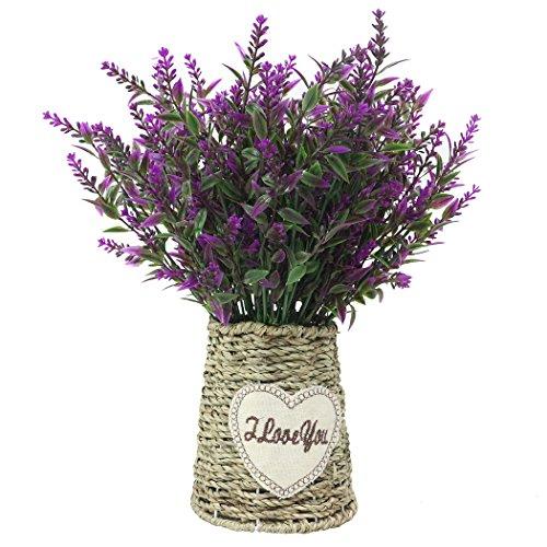 JAROWN - Maceta vintage de flores de lavanda artificiales con cuerda trenzada para decoración del hogar